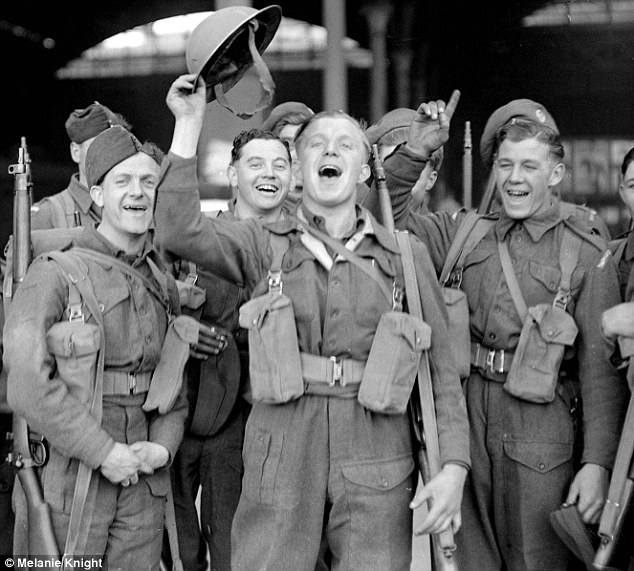 British troops cheer the news on May 8, 1945, that the war in Europe is over. Click to enlarge