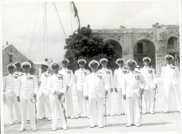 Eric Hitchens features in the front row, second left, as a naval officer in Malta in about 1950. Click to enlarge