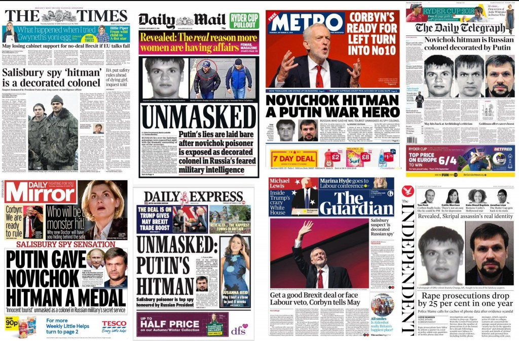 Sept 27, UK newspaper headlines. Click to enlarge