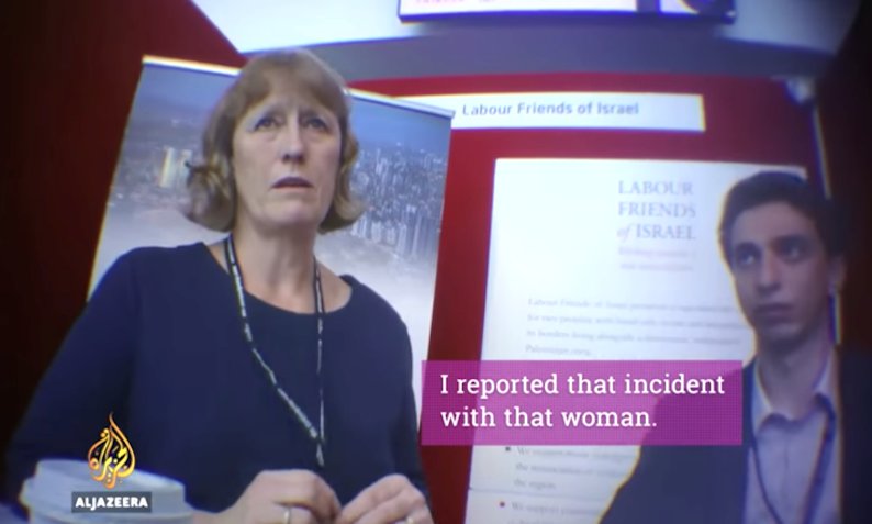 Labour Friends of Israel chair Joan Ryan was caught on undercover camera fabricating an instance of anti-Semitism at the Labour Party conference 2016. Click to enlarge