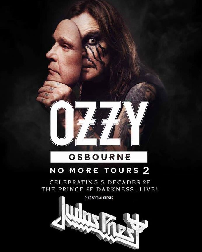 """Somehow, Ozzy Osbourne still goes on tour. In this poster, """"the Prince of Darkness"""" shows his two faces – a great opportunity to also show that he is owned by the occult elite by hiding one eye. Click to enlarge"""
