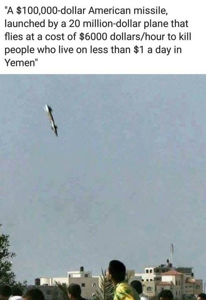 100000 dollar missile launched by 20 million dollare palne