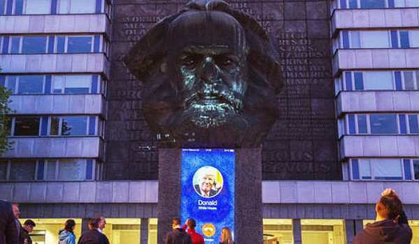 Karl Marx Monument in Chemnitz, in eastern Germany. Click to enlarge