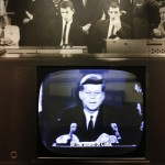 President Kennedy on October 22, 1962, during a televised address about the Cuban Missile Crisis. Click to enlarge