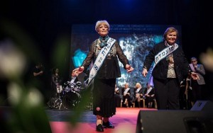 Miss Holocaust Survivor contestants on the catwalk. Click to enlarge
