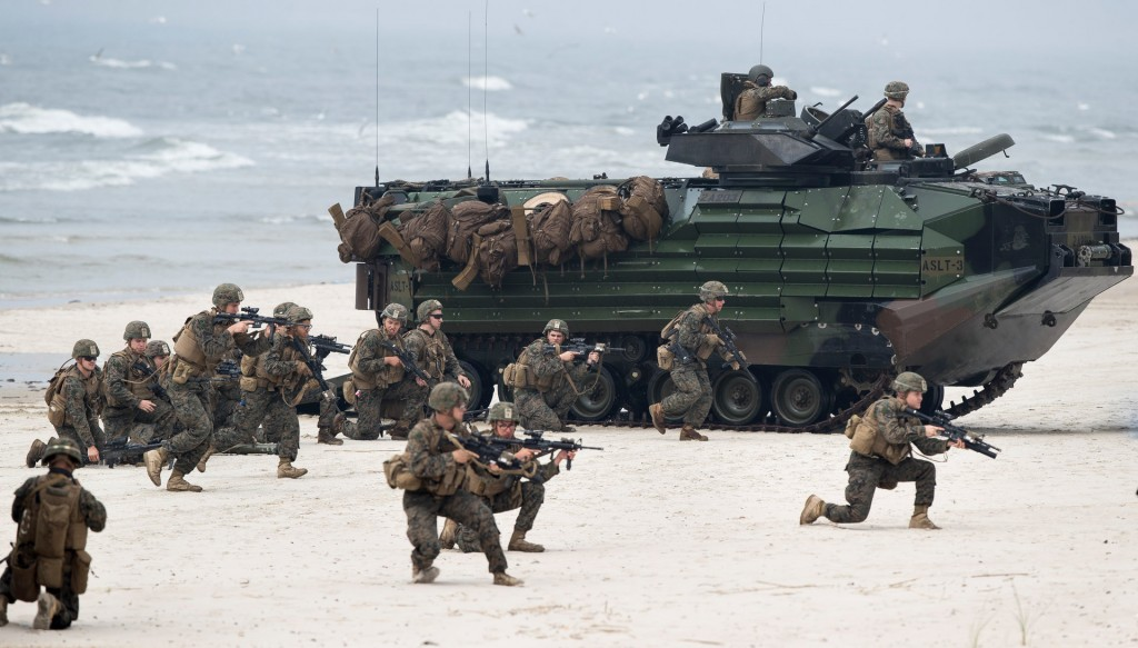 U.S. Marines with Amphibious Assault Vehicles (AAV) take a part in a landing operation during a military Exercise Baltops 2018. Click to enlarge
