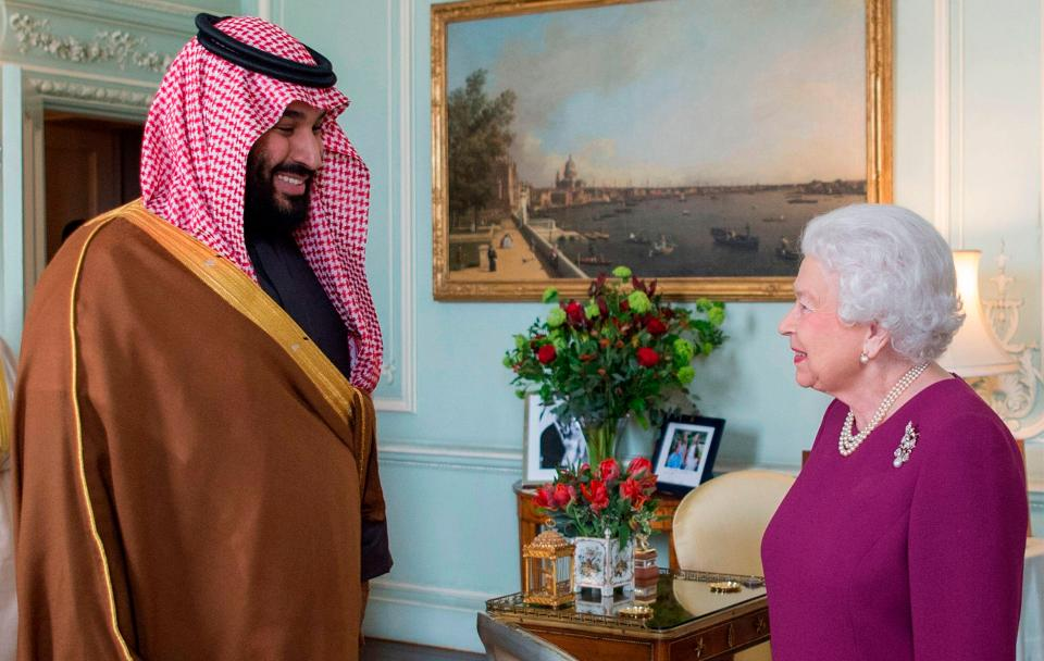 Mohammed bin Salman meets with Queen Elizabeth in March 2018 during his visit to the UK. Click to enlarge
