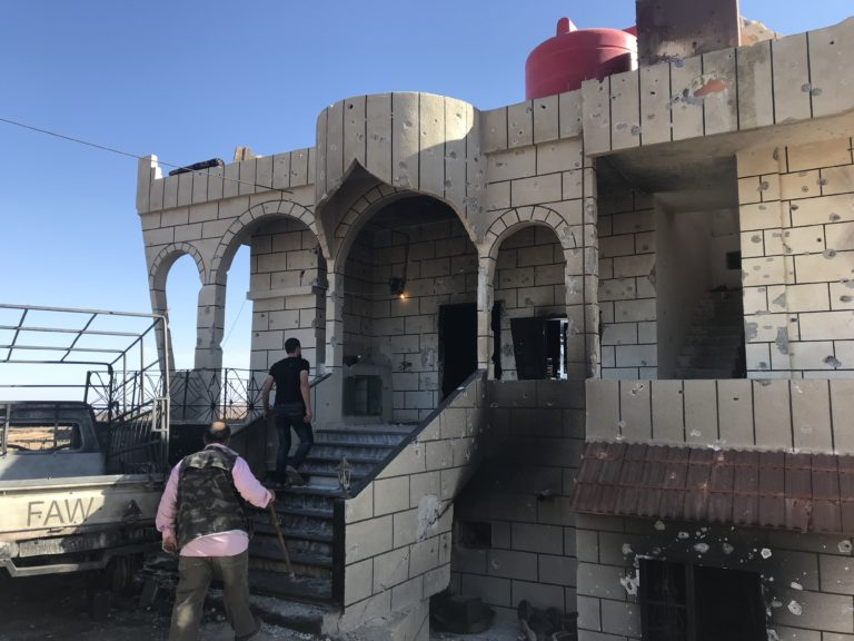 This house in Shbeki was taken over by ISIS early on and used as a sniper vantage point. (Photo: Vanessa Beeley) . Click to enlarge