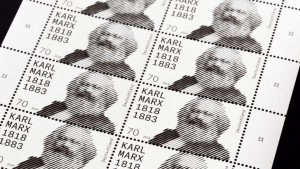 In May 2018, the German postal service released a postage stamp to commemorate the 200th birthday of Karl Marx. Click to enlarge