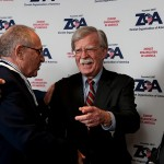 Pictured left to right: Joseph Frager, Alan Dershowitz, and John Bolton at the 2018 Zionist Organization of America awards. Photo | ZOA. Click to enlarge