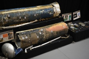 Remains of Iranian Qiam ballistic missiles seen at the Iranian Materiel Display at Joint Base Anacostia-Bolling, Washington, D.C., Nov. 26, 2018. The Department of Defense established the Iranian Materiel Display in December 2017 to present evidence that Iran is arming dangerous groups with advanced weapons, spreading instability and conflict in the region. The IMD contains materiel associated with Iranian proliferation into Yemen, Afghanistan and Bahrain. (DoD photo by Lisa Ferdinando). Click to enlarge