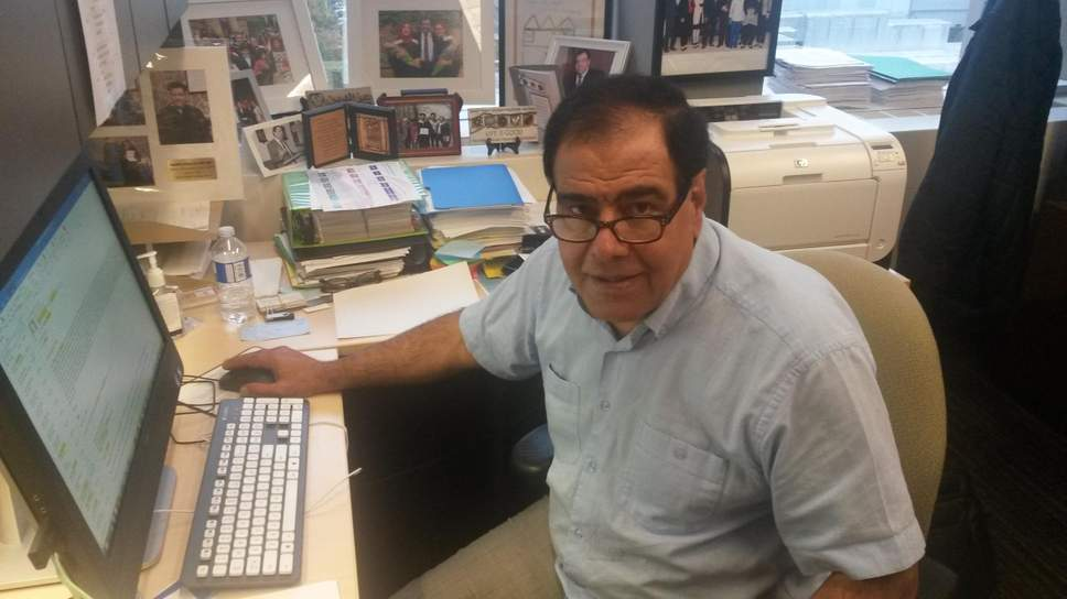 Izzeldin Abuelaish pictured in his office at the University of Toronto. He took the Israelis to court after the death of his children. Click to enlarge