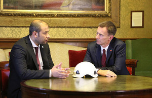 UK Foreign Secretary Jeremy Hunt meets Raed al-Saleh