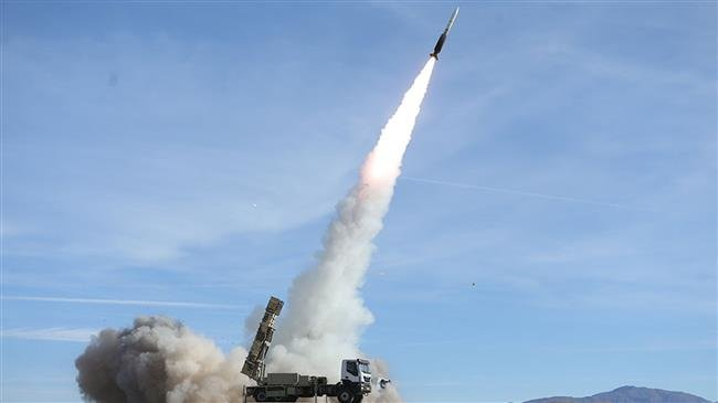 Sayyad missile launched from a Talash missile system during air defense drills in Nov 2018. click to enlarge