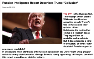 Screenshot Intelligence report describes Trump Russian collusion