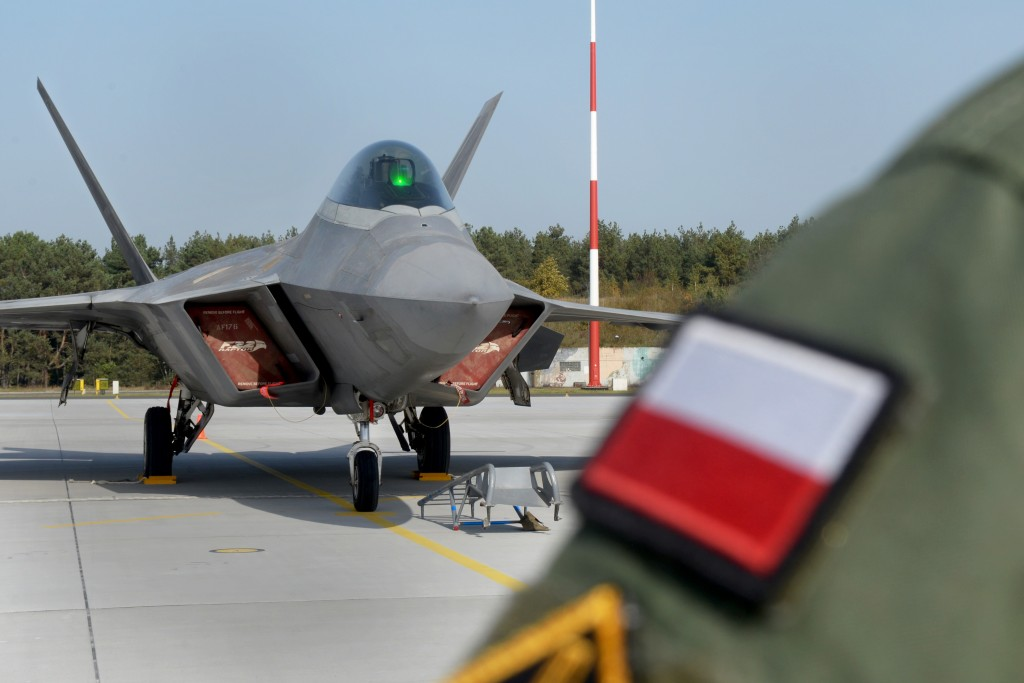 An F-22 Raptor from the 1st Fighter Wing, Joint Base Langley-Eustis, Va., sits on the flightline Oct. 17, 2017, at Powidz Air Base, Poland. This forward deployment is an opportunity for the F-22s to maximize training opportunities, demonstrate the U.S. Air Force's steadfast commitment to NATO allies and deter any actions that destabilize regional security. (U.S. Air Force photo by Senior Airman Tenley Long)