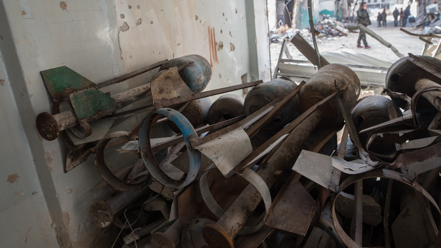 Home made munitions used by militants in Syria. Click to enlarge