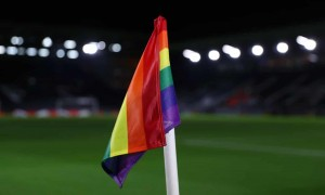 A rainbow corner flag on a Premier League clubs pitch. Click to enlarge