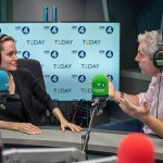 Angela Jolie, pictured left with presenter Justin Webb on Radio 4's Today programme. The Hollywood star has spoken of the need for reliable source in a media landscape clouded by fake news. Click to enlarge