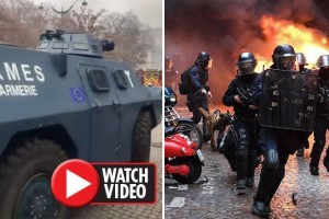 Still from video of EU insignia on armoured vehicles during Paris riots. Click to enlarge