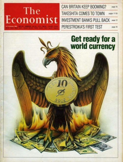 This 1988 cover of The Economist called for the creation of a world currency called the Phoenix – one of the occult elite's favorite symbols. The bird stands on a pile of burning national currencies.