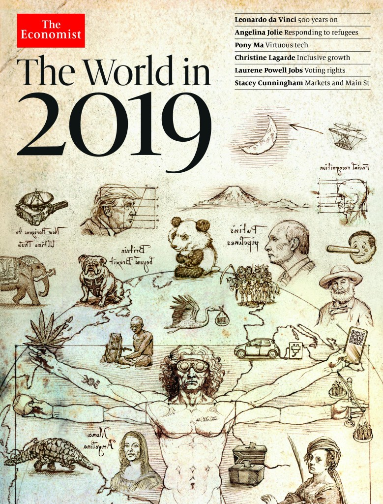 The Economist cover: The World in 2019. Click to enlarge