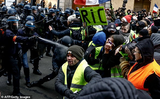 French police disperse demonstrators with tear gas during protests in Paris on Saturday. Click to enlarge