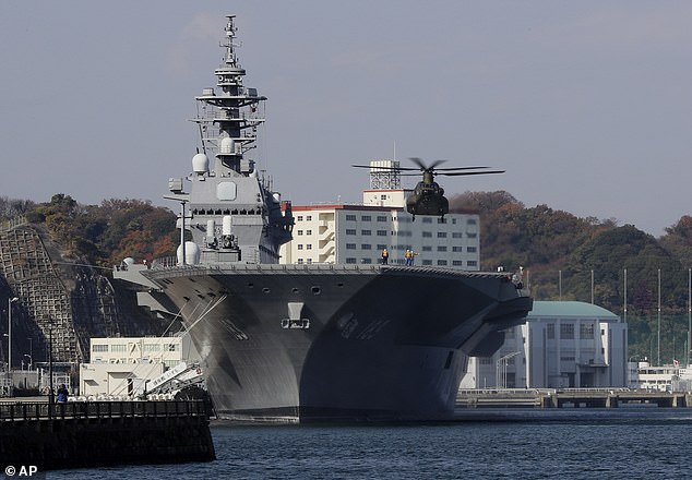 Japanese helicopter carrier Izumo, which will be converted to carry F-35s. Click to enlarge