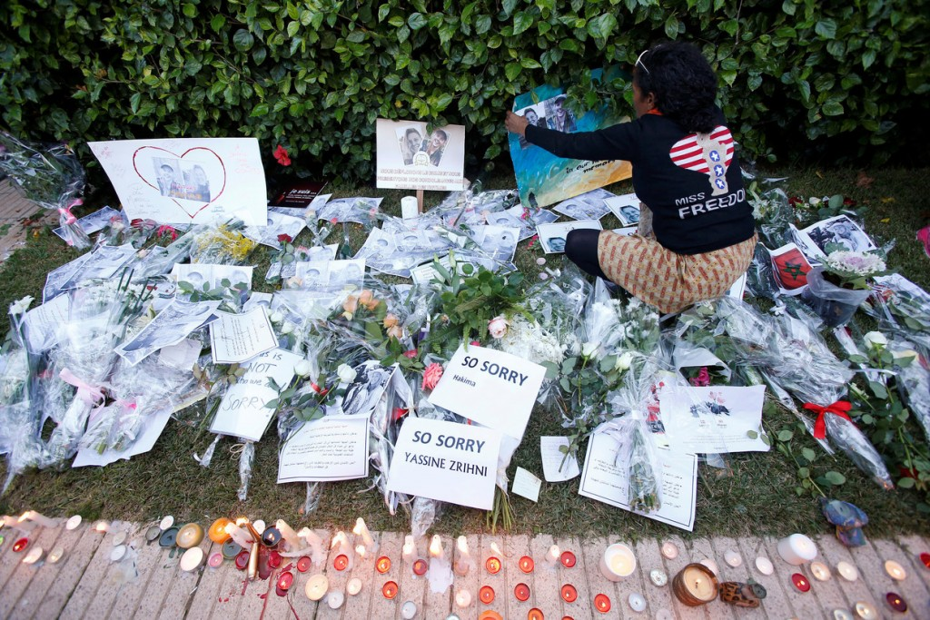 Memorial to the slain backpackers at Danish embassy. Click to enlarge
