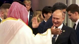 Putin greets Saudi Crown Prince Mohammed bin Salman in Beunos Aires recently. Click to enlarge