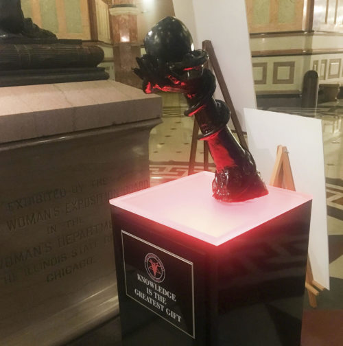 The satanic display at the Illinois Statehouse rotunda.