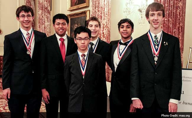 America's 2018 Championship Math Olympiad Team: Adam Ardeishar, Andrew Gu, Vincent Huang, James Lin, Michael Ren, and Mihir Singhal. Click to enlarge