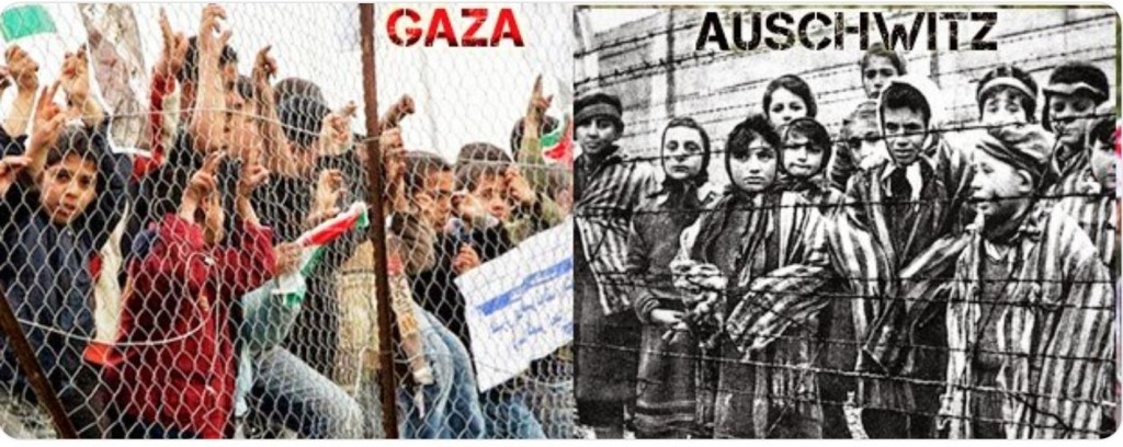 Not to see that Gaza is a concentration camp is a Holocaust denial!!! Click to enlarge