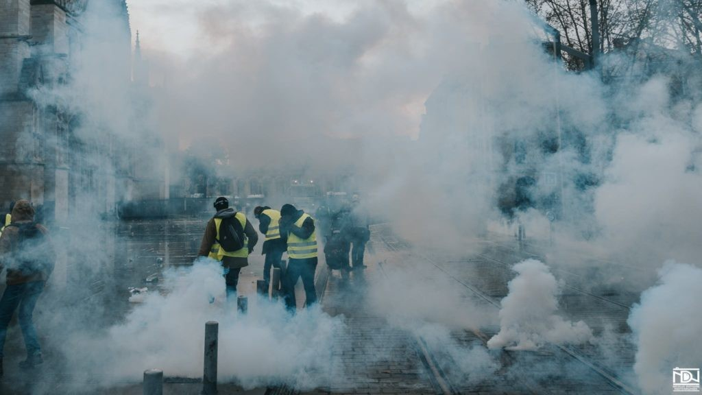 Yellow Jacket protestors being tear gassed in Bordeaux, January 12th 2019.