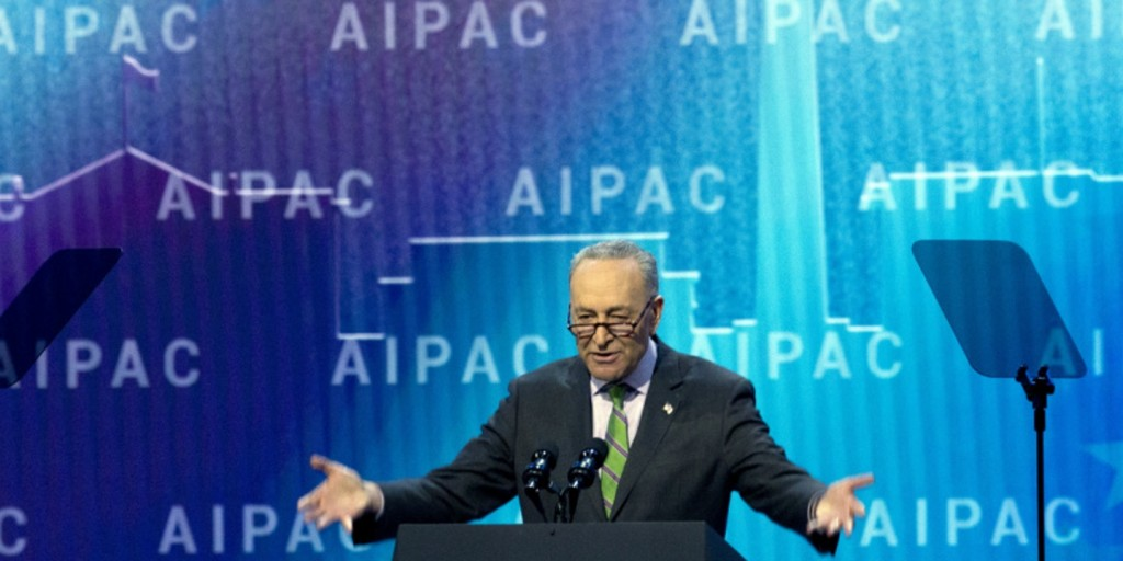 Chuck Schumer speaking ar the AIPAC conference in Washington DC on March 5 2018