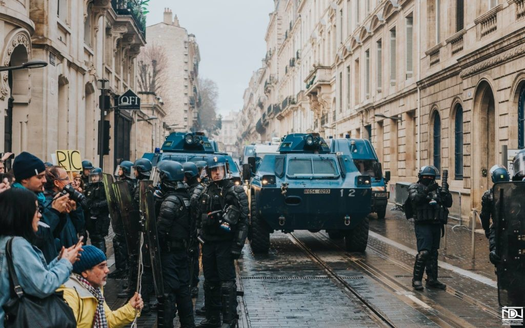 """Forces of """"law and order"""" on the streets of Bordeaux during Acte X of GJ protests, 12/1/2019"""