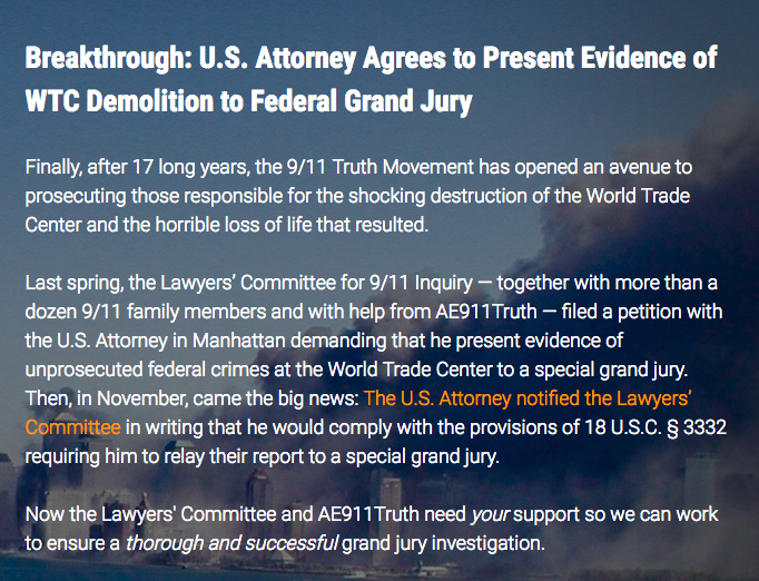 Screen shot US attorney to present evidence of controlled demolition
