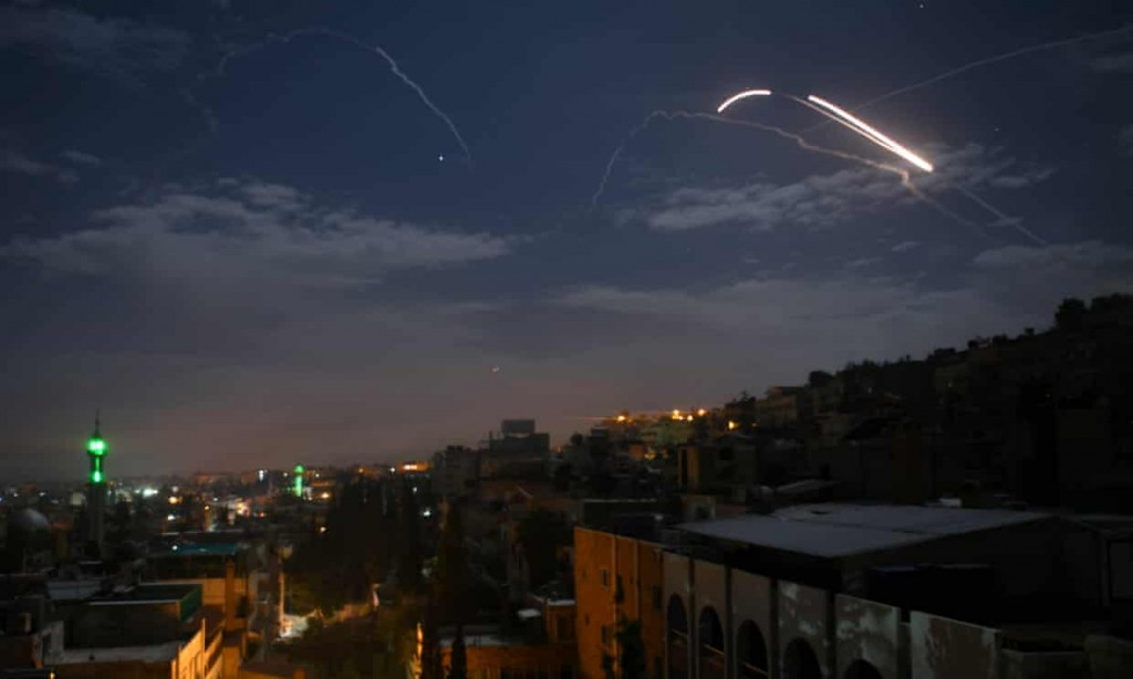 Syrian air defences respond to Israeli strikes early Monday morning. Click to enlarge