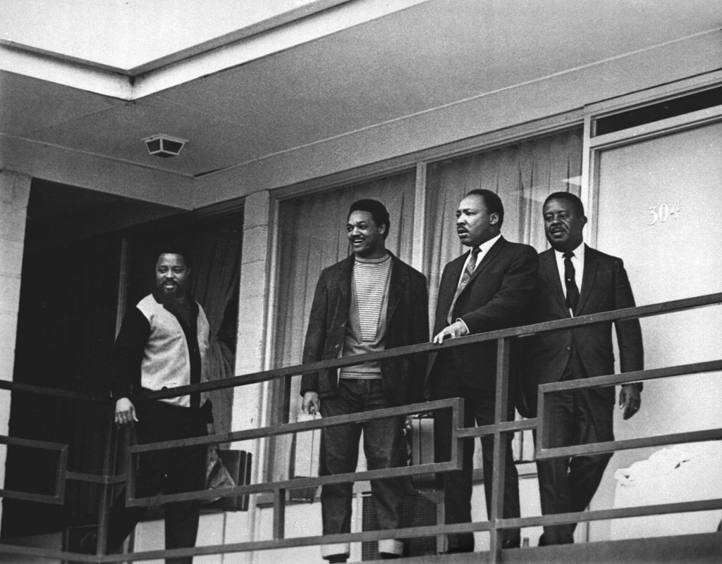 The Rev. Martin Luther King Jr. stands with other civil rights leaders on the balcony of the Lorraine Motel in Memphis, Tenn., on April 3, 1968, a day before he was assassinated at approximately the same place. From left are Hosea Williams, Jesse Jackson, King and Ralph Abernathy.