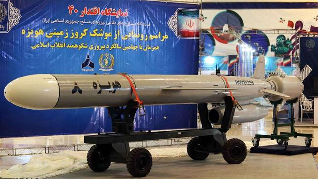 A surface-to-surface Hoveyzeh cruise missile on display in Tehran, Feb 2, 2019. Click to enlarge