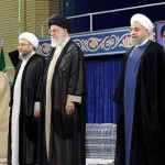 From left to right : Ayatollah Ahmad Jannati (President of the Assembly of Experts, the 86 religious sages who preside over Iran) ; Ayatollah Sadeq Larijani (Chief of the Islamic Judiciary) ; Ayatollah Ali Khamenei (Supreme Leader of Iran) ; Cheikh Hassan Rohani (President of the Islamic Republic) ; Ali Larijani (brother of the Chief of the Islamic Judiciary and President of the National Assembly).