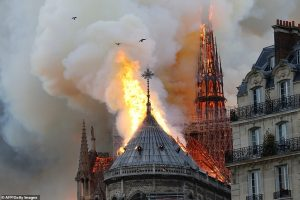 Flames engulf Notre Dame. Click to enlarge