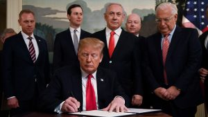 Trump signs decree recognising the golan Heights as sovereign Israeli territory. Click to enlarge