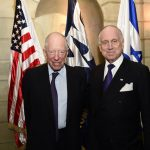 Lord Jacob Rothschild with Ronald Lauder, president of the World Jewish Congress, after receiving the WJC Theodor Herzl Award on behalf of his family, on November 7, 2018 (Photo credit: Shahar Azran/WJC)