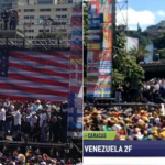 US and Israeli flags at a  pro-Guaido rally