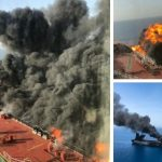 Norwegian-owned Front Altairoil tanker burns off the coast of Oman after being hit by suspected torpedoes in June this year. The U.S. alleged that Iran was behind the attack. Click to enlarge