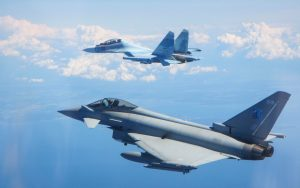 RAF Typhoon and a Russian Su-30. Click to enlarge