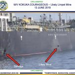 A photograph released by the US military showing damage to the Kokuka Courageous and a suspected limpet mine Photograph: U.S. Central Command