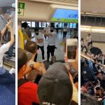 Composite picture taken from multiple video sources showing a group of masked thugs attacking protesters at the Yueng Long train station in Hong Kong on Sunday. Click to enlarge