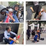July 2019, Paris (top left = tear gas puck in the eye; top right = man unconscious after being bludgeoned by the police; bottom left = another truncheon wound; bottom right = a pensioner has a heart attack whilst being detained) Click to enlarge